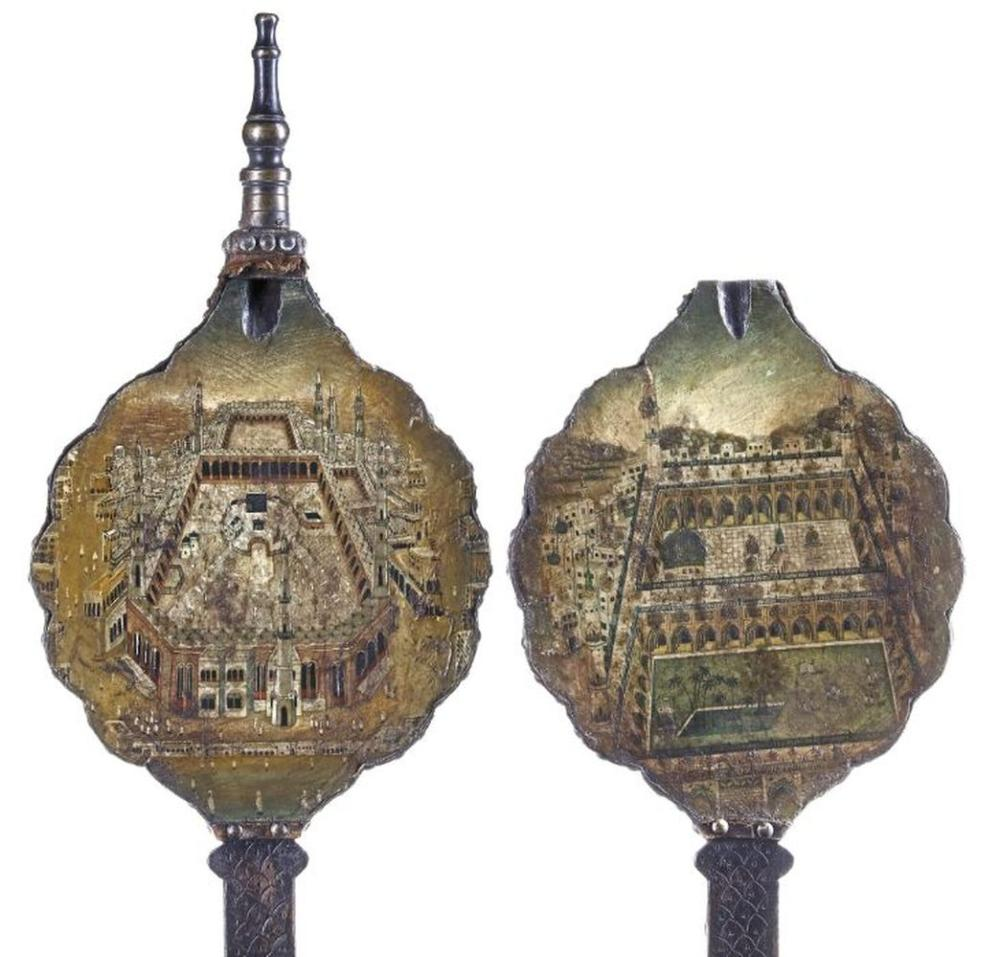 TWO INDIAN PANELS DEPICTING THE KABAA AND MEDINA 19TH CENTURY