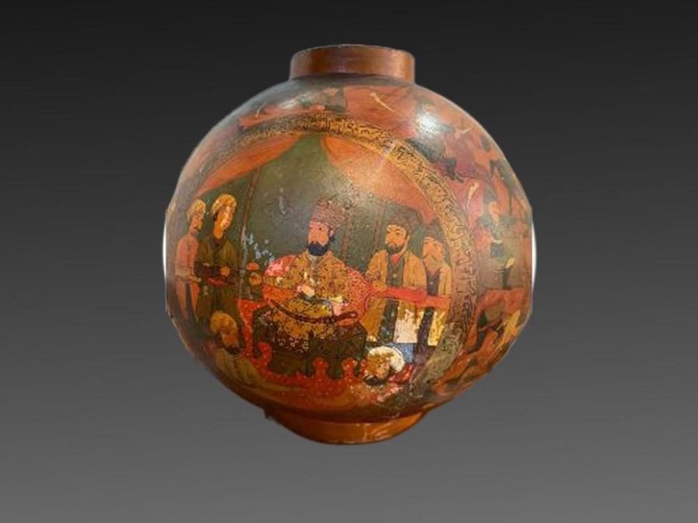 19th Century Paper mache Persian Qajar Vase Painted Scenes & Calligraphy
