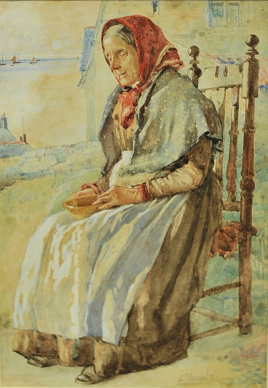WALTER LANGLEY (1852-1922) watercolour, 'Quiet