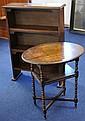 An oak freestanding open bookcase, 106cm high and