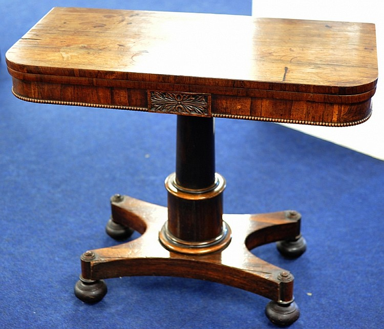 Early Victorian rosewood fold over card table on