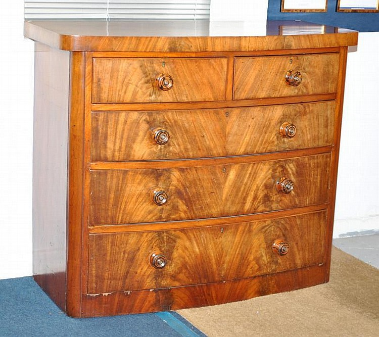 Victorian mahogany bow fronted chest of drawers