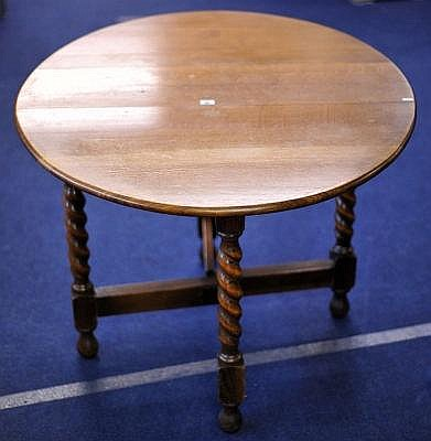 1920's oak drop flap table with barley twist legs