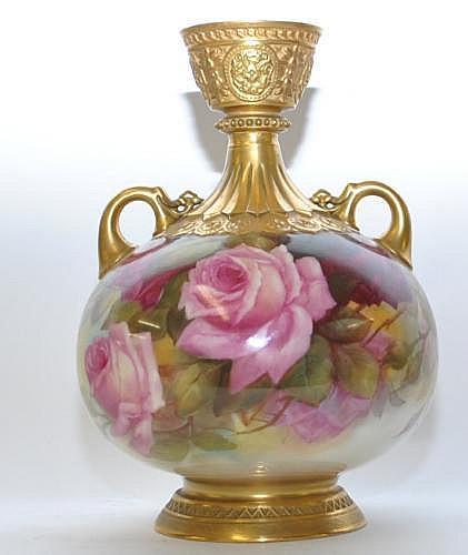 Royal Worcester porcelain two handled globular