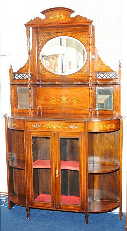 Edwardian rosewood and marquetry parlour cabinet
