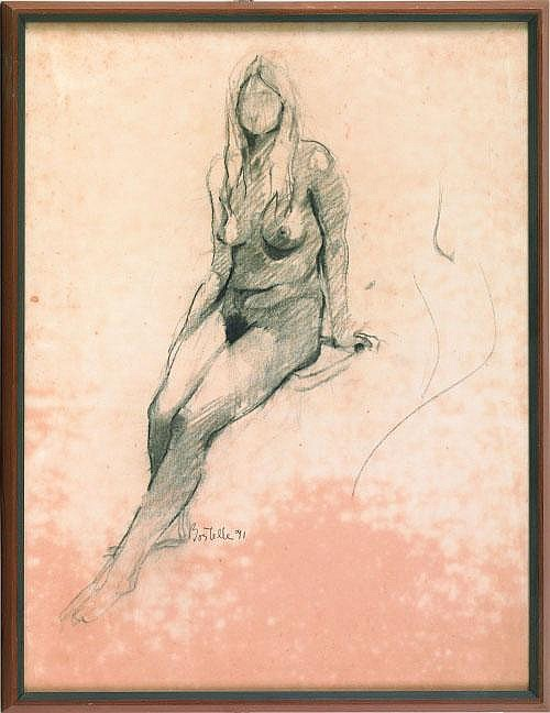 Tom Bostelle (Pennsylvania, 1921-2005), charcoal