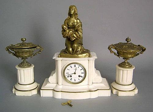 Japy Freres marble and bronze 3-pc. clock