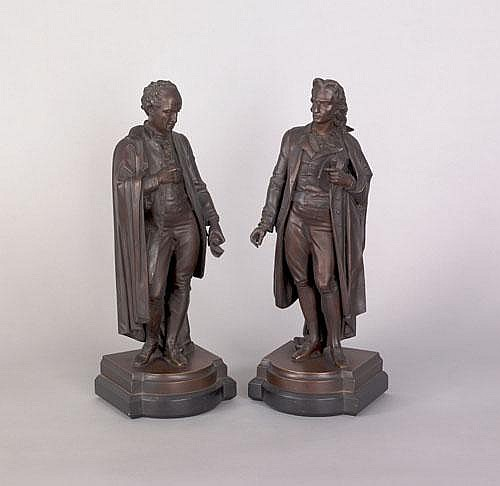 Pierre Aubert (French, d. 1912), pair of bronze