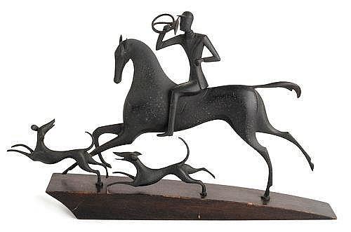Karl Hagenauer (Austrian, 1898-1956), bronze hunt