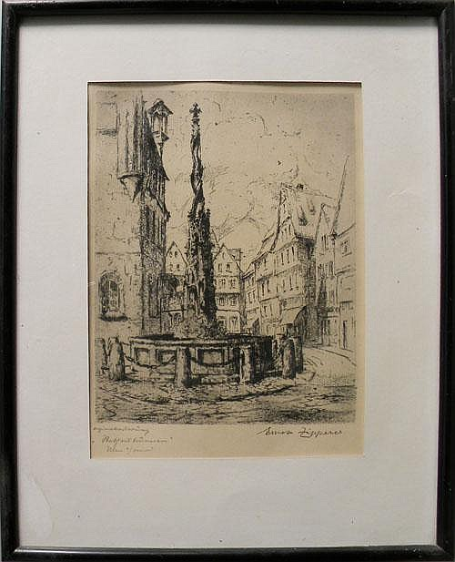Group of eight etchings, signed Ernst Zipperer,