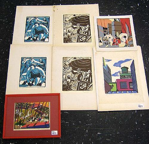 Michael Leone(American, 20th c.), seven printed