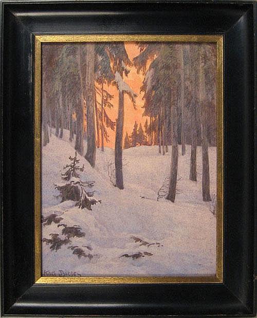 Karl Biese (German 1863-1926), watercolor winter