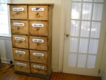 French Seed Cabinet from flower shop