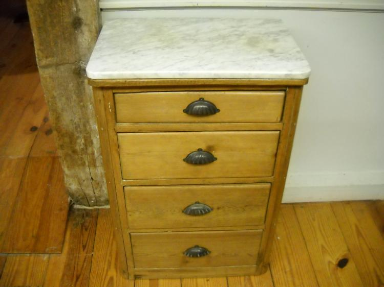 Four Drawer English Marble Top End Table