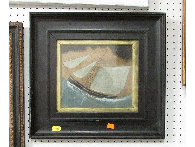 After Alfred Wallis Oil On Card Painting Of A