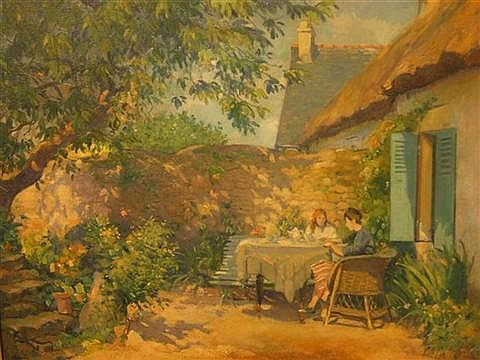 ABEL GEORGE WARSHAWSKY AMERICAN 1883-1962 GARDEN BREAKFAST - ISLE AUX MARIE Oil on canvas: 26 X 32 in. (sight)