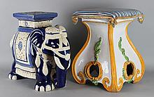 TWO GARDEN STOOLS: AN ASIAN CERAMIC ELEPHANT TOGETHER WITH A PAINTED CERAMIC PILLOW SEAT
