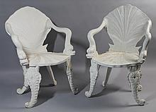 PAIR OF VENETIAN STYLE GROTTO CHAIRS WITH SHELL-FORM SEATS AND DOLPHIN ARMS
