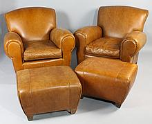 PAIR OF MITCHELL GOLD BROWN LEATHER CLUB CHAIRS WITH MATCHING OTTOMANS