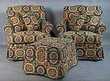 PAIR OF CLUB CHAIRS AND MATCHING OTTOMAN