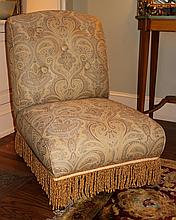 PAIR OF PAISLEY UPHOLSTERED SLIPPER CHAIRS TOGETHER WITH AN OTTOMAN