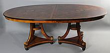 CENTURY FURNITURE FRENCH EMPIRE STYLE MAHOGANY DINING TABLE WITH INLAY, HAVING TWO LEAVES