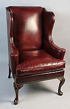 HICKORY CHAIR CO. BURNISHED BURGUNDY LEATHER WING CHAIR WITH FULL NAILHEAD TRIM