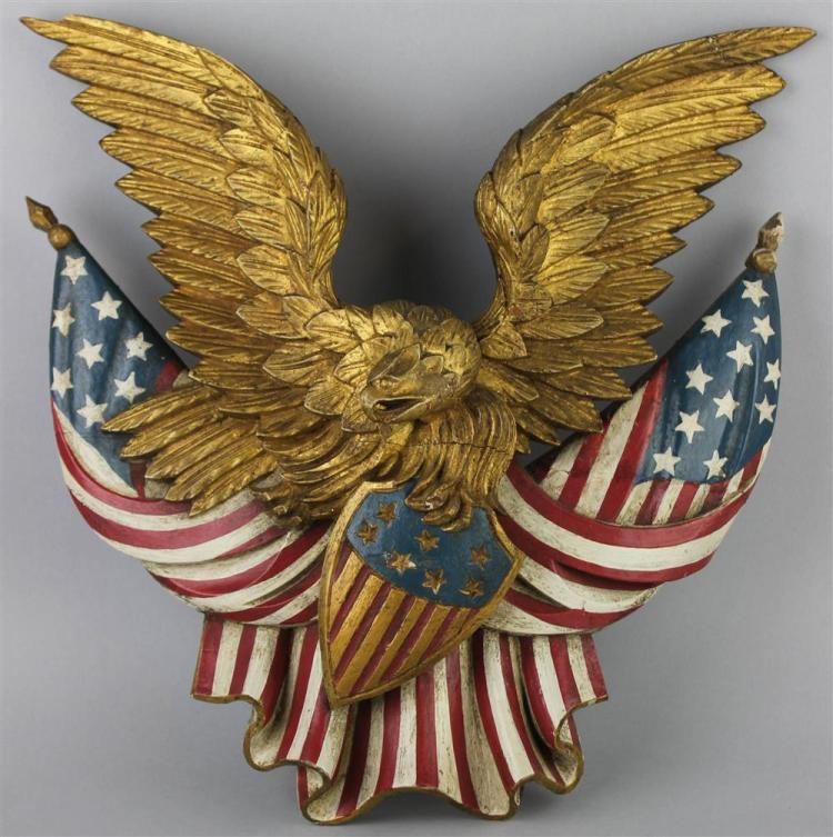 Polychromed Patriotic Carved Wood Eagle Wall Plaque