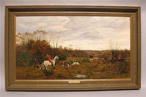 BASIL BRADLEY (BRITISH, 1842-1904) COVERSIDE Oil on canvas: 19 1/4 x 35 1/2 in.