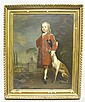 STYLE OF CHARLES PHILIPS (BRITISH, 1708-1747) PORTRAIT OF A BOY IN A RED COAT WITH HIS DOG Oil on canvas: 26 1/2 x 20 3/4 in., Charles Philips, Click for value