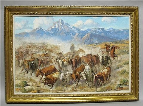 MARCO ANTONIO GOMEZ (MEXICAN/AMERICAN, 1910-1972) CATTLE Oil on canvas: 24 x 36 in.