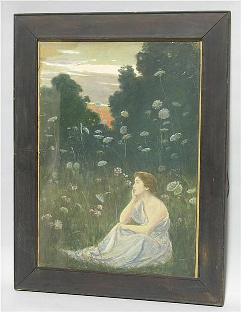 EDWIN BURRAGE CHILD (AMERICAN, 1868-1937) WOMAN IN A LANDSCAPE Watercolor and gouache on paper: 16 3/4 x 12 in.