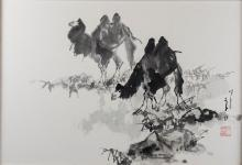 LI SHAN (CHINESE, B. 1926) TWO CAMELS, FEBRUARY 1983 Ink and color on paper mounted on board: 26 3/4 x 18 1/2 in.