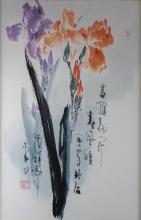 LI SHAN (CHINESE, B. 1926) CALAMUS FLOWER IN SPRING WIND, 1984 Ink and color on paper: 26 1/2 x 17 1/4 in.