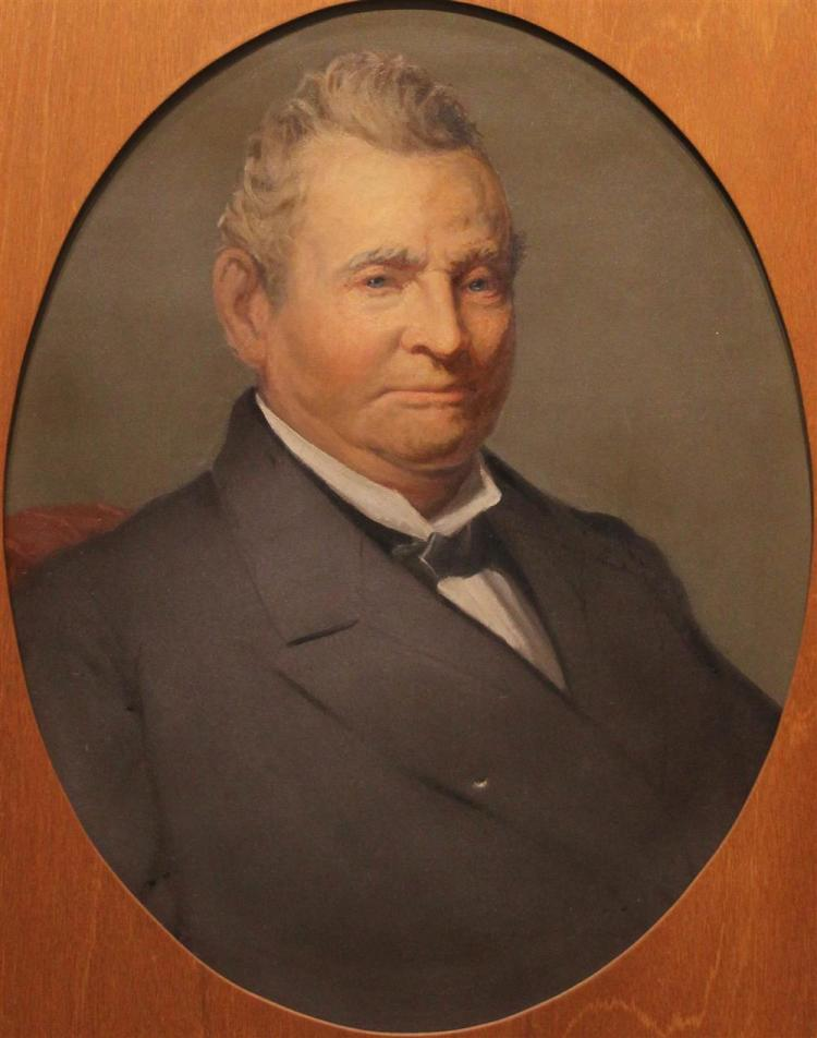 POSSIBLY BY WILLIAM WILLARD (AMERICAN, 19TH CENTURY) PORTRAIT OF JEDIDIAH MARCY (1794-1897) Oil on canvas: 30 x 24 3/4 in.