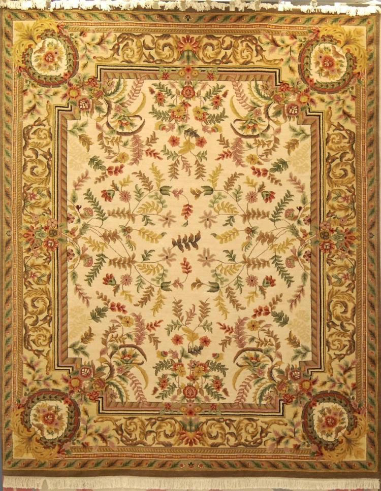 Indian handmade aubusson style wool rug for Home inspired by india rug