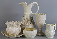 SEVEN BELLEEK PIECES, GREEN PRINTED MARKS