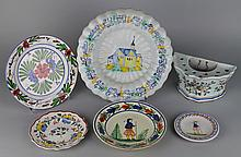 GROUP OF SIX FAIENCE ITEMS