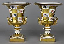 PAIR OF CONTINENTAL PORCELAIN CAMPANA VASES