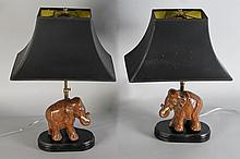 PAIR OF CARVED WOOD ASIAN ELEPHANT LAMPS WITH BLACK SHADES