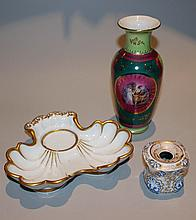 HAIDINGER CERAMIC INKWELL AND GILT-DECORATED CZECHOSLOVAKIAN VASE