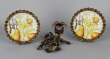 JAY STRONGWATER PAIR OF CABOCHON JEWELED FLORAL CIRCULAR PICTURE FRAMES TOGETHER WITH A JEWELED BRANCH CANDLEHOLDER