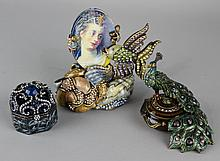 JAY STRONGWATER JEWELED UNDER THE SEA FRAME, PEACOCK LIDDED CIRCULAR BOX, AND BLUE HEART LIDDED SMALL OCTAGONAL BOX