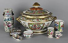 CHINESE EXPORT FAMILLE ROSE TUREEN; TOGETHER WITH SEVEN SMALL CHINESE EXPORT CERAMICS