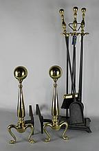 PAIR OF CANNONBALL ANDIRONS TOGETHER THREE-PIECE BRASS TOPPED FIRE TOOLS