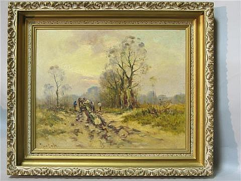 TEN CATE, HENDRIK JAN DUTCH, 1867-1953 LOGGERS Oil on canvas board: 15 x 19 in. (sight)