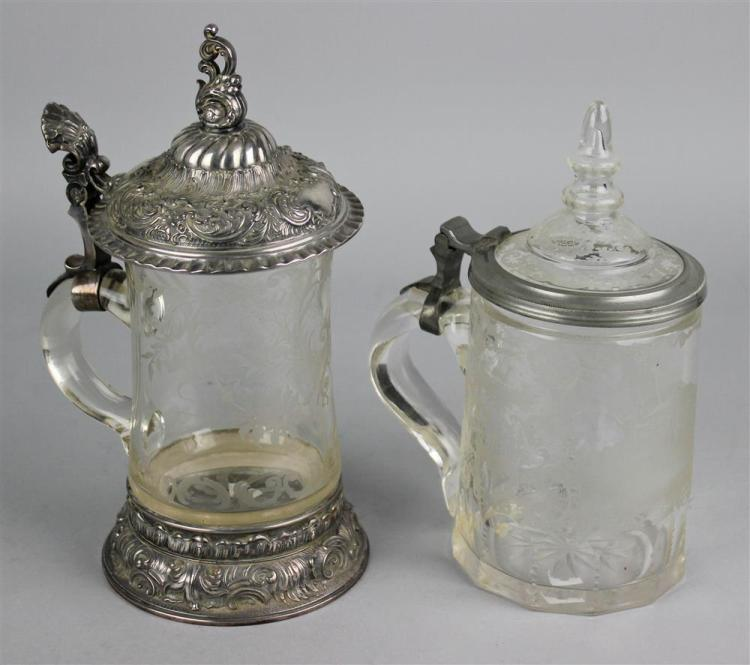 Two German Pewter Mounted Engraved Glass Steins