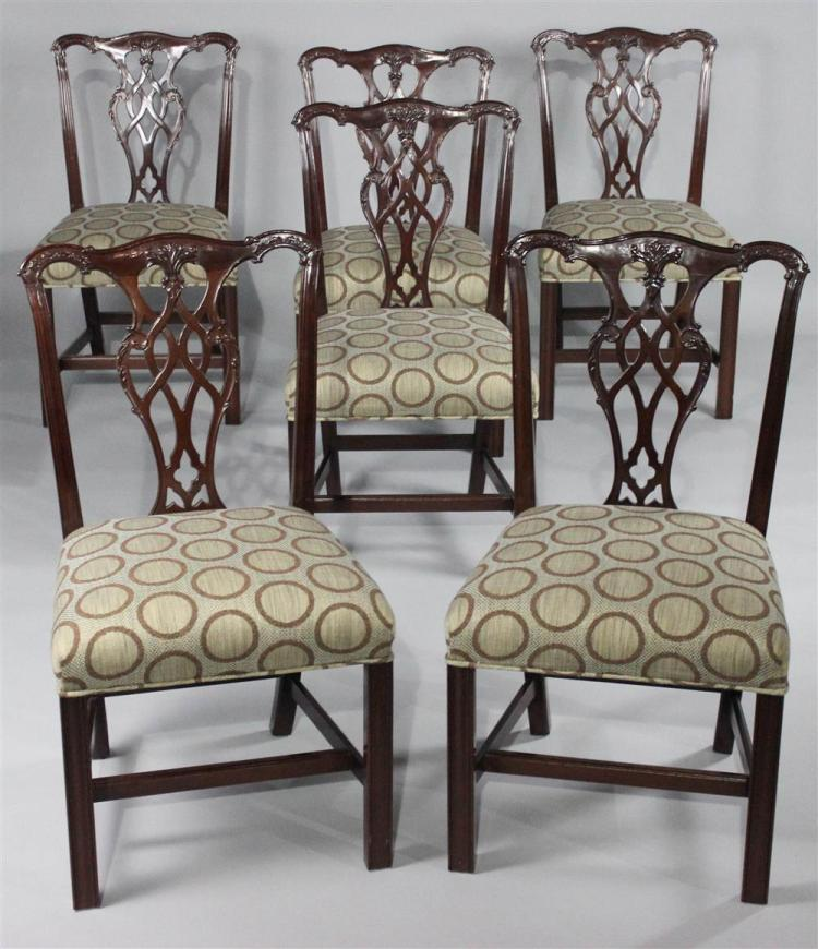 Henkel Harris Dining Room Furniture: HENKEL HARRIS SET OF SIX CHIPPENDALE STYLE MAHOGANY DINING C