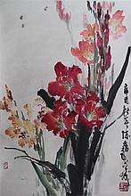 CHEN ZIYI (CHINESE, 1919-) FLOWERS, 1981 Ink and watercolor on paper mounted on hanging scroll: 26 x 17 1/2 in.