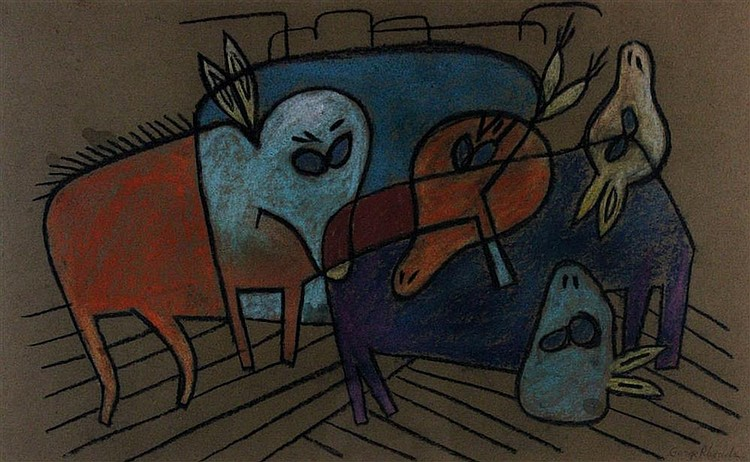 GEORGE RHOADS (AMERICAN, 1926-) ABSTRACT BUFFALO Pastel on paper: 14 1/2 x 23 in. (sight)